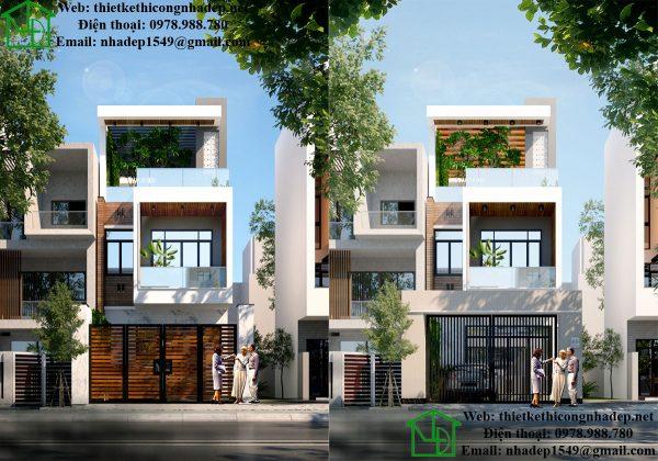 Thiết kế nhà phố 3 tầng hiện đại NDNP3T17