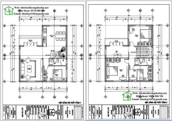 Mặt bằng bố trí nội thất tầng 1 và tầng 2 NDBT2T43