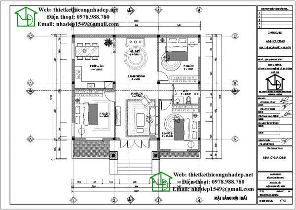 Mặt bằng bố trí nội thất biệt thự nhà vườn 1 tầng DBT1T60