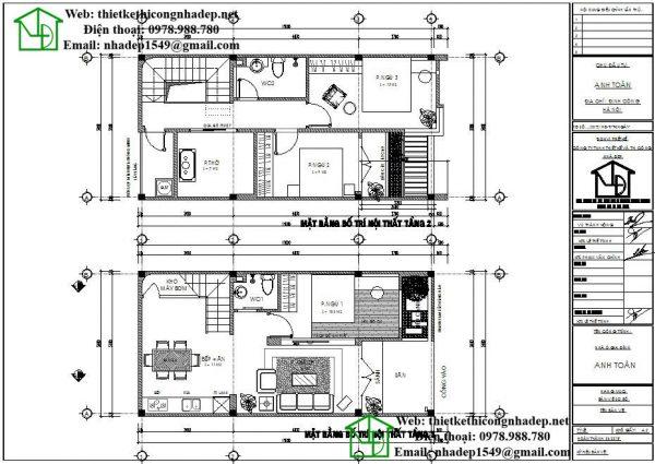 Mặt bằng nội thất nhà ống 2 tầng NDNP2T4