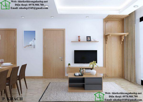 Thiết kế nội thất chung cư 2 phòng ngủ bằng chất liệu gỗ MFC An Cường