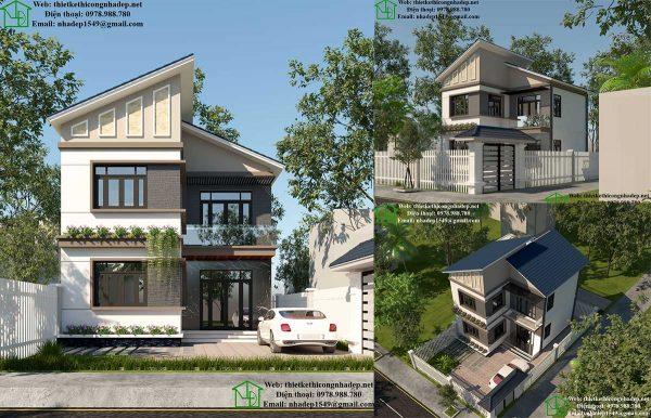 Thiết kế biệt thự  2 tầng đẹp NDBT2T43