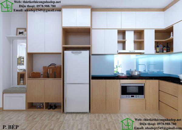 Thiết kế nội thất chung cư 2 phòng ngủ với phòng bếp tiện nghi