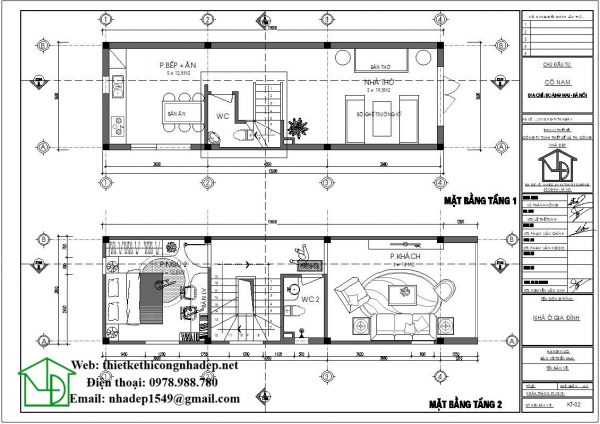 Mặt bằng bố trí nội thất tầng 1 và tầng 2 NDNP3T18
