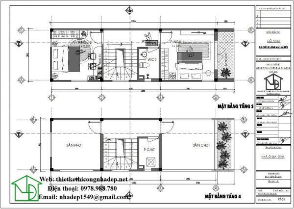 Mặt bằng bố trí nội thất tầng 3 và tầng 4 NDNP3T18