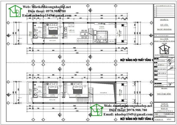 Mặt bằng nội thất nhà cấp 4 gác lửng mái tôn NDNC463