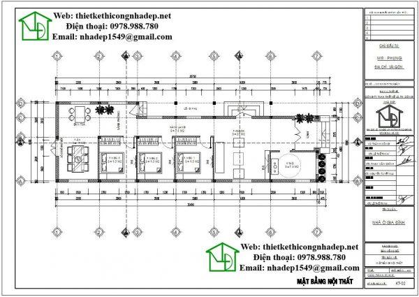 Mặt bằng nội thất nhà cấp 4 hình chữ L NDNC462