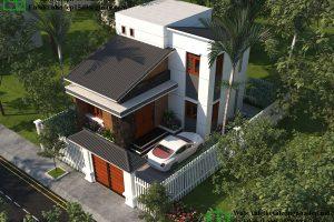Phối cảnh tổng thể mẫu nhà 2 tầng nhỏ đẹp NDMN2T10