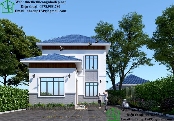 Phương án thiết kế nhà 2 tầng hiện đại NDMN2T10