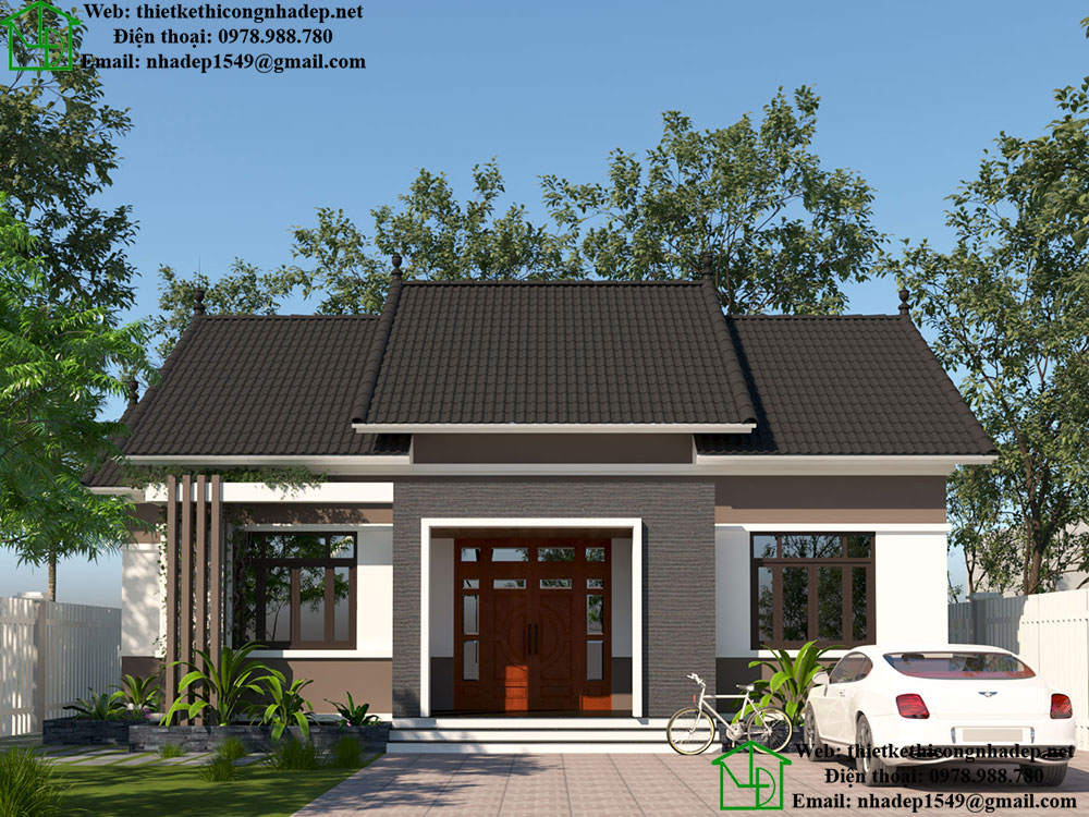 Thiết kế nhà cấp 4 mái thái đẹp NDNC461