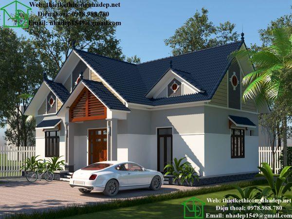 Thiết kế nhà vườn 1 tầng DBT1T61