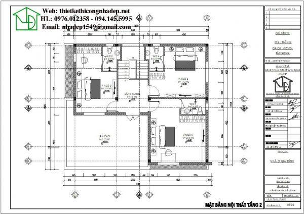 Mặt bằng bố trí công năng tầng 2 nhà 2 tầng NDBT2T44