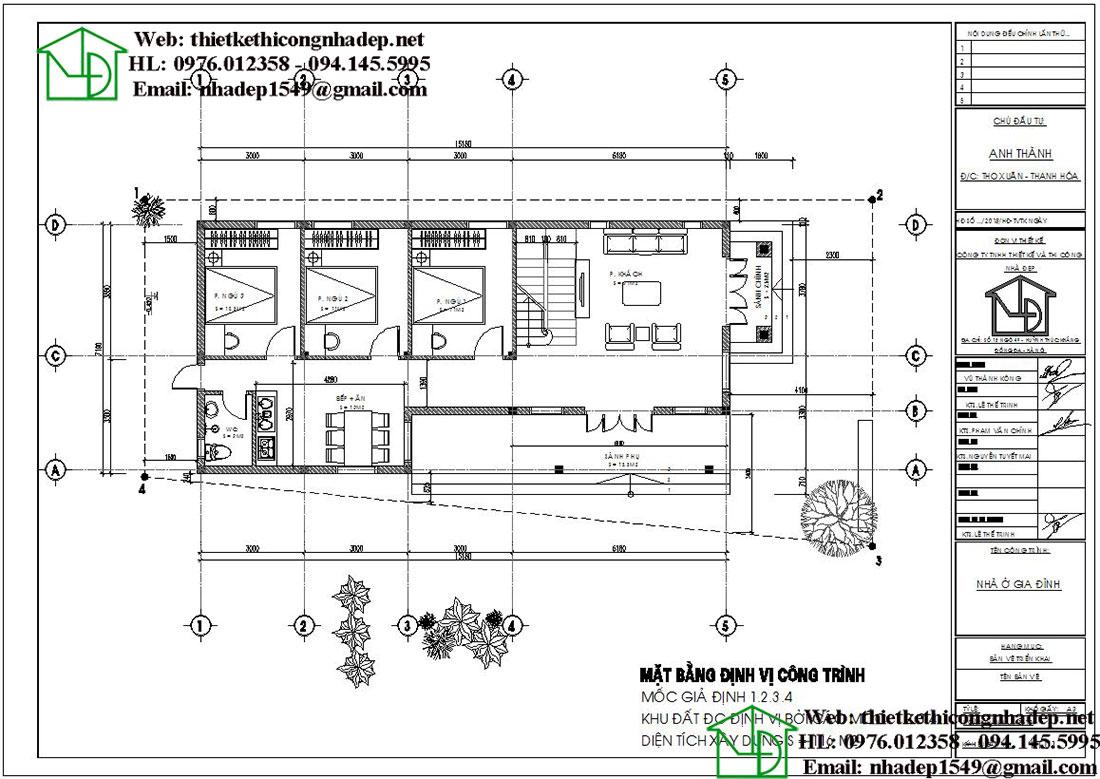Mặt bằng bố trí nội thất biệt thự vườn 1 tầng mái thái DBT1T64