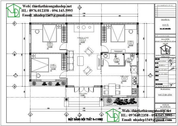 Mặt bằng nội thất biệt thự vườn 1 tầng NDBT1T63.