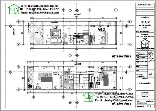 Mặt bằng tầng 1 và tầng 2 nhà phố 4 tầng NDNP4T9