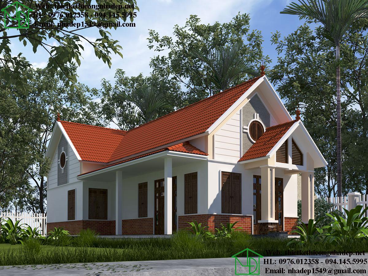 Mẫu nhà đẹp 1 tầng mái thái DBT1T64