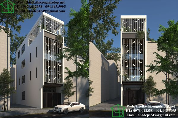 Mẫu nhà phố 4 tầng 4x14 hiện đại NDNP4T9