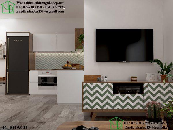 Thiết kế chung cư nhỏ với phòng khách hiện đại