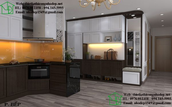 Mẫu thiết kế chung cư đẹp với phòng bếp cao cấp