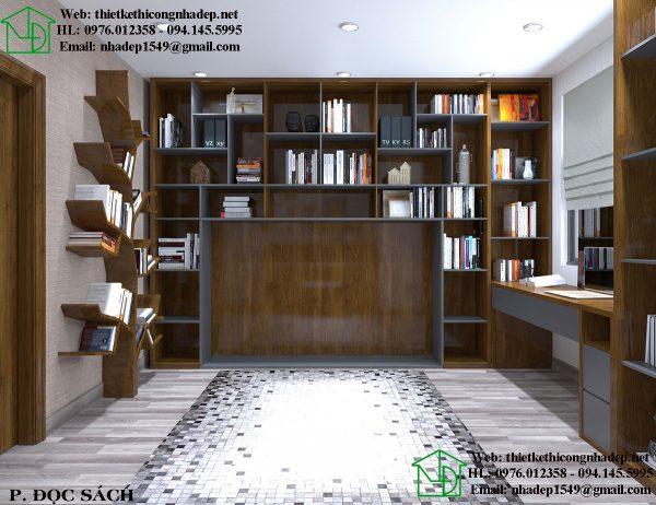 Mẫu thiết kế chung cư đẹp với phòng đọc sách sang trọng
