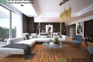 Thi công nội thất chung cư với phòng khách sang trọng hiện đại