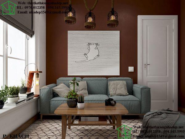 Thiết kế chung cư nhỏ với phòng khách hiện đại và ấm cúng