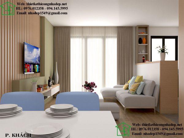 Thiết kế nội thất chung cư 70m2 với phòng khách sang trọng và độc đáo