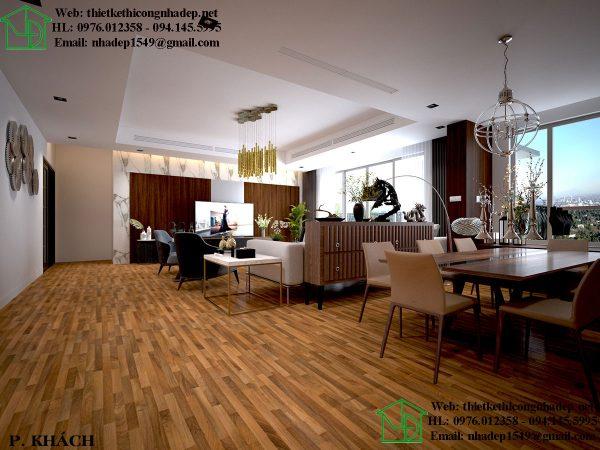 Thi công nội thất chung cư Mon City với phòng khách theo phong cách châu Âu