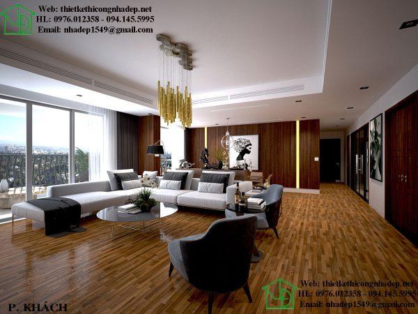 Thi công nội thất chung cư hiện đại với không gian phòng khách sang trọng đẳng cấp