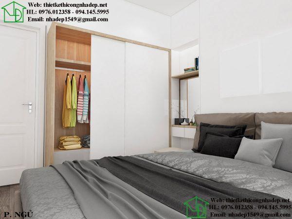 Thiết kế chung cư nhỏ với phòng ngủ đơn giản nhưng tiện nghi