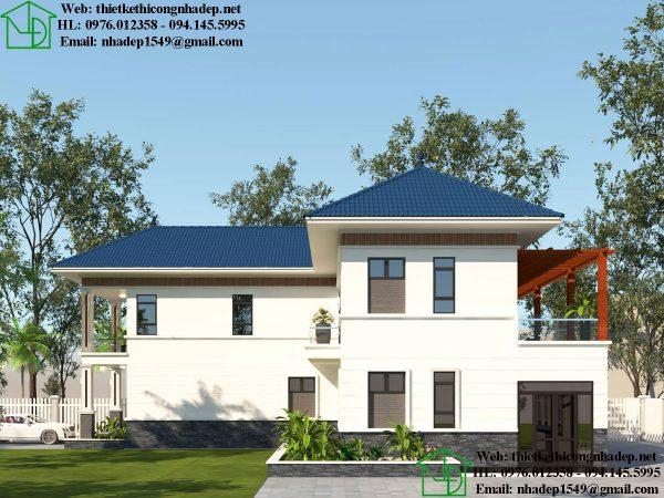 Mẫu nhà đẹp 2 tầng mái thái NDBT2T45