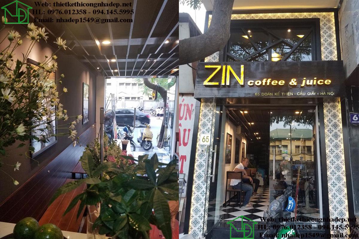 Thi công quán cafe Zin Coffee Juice