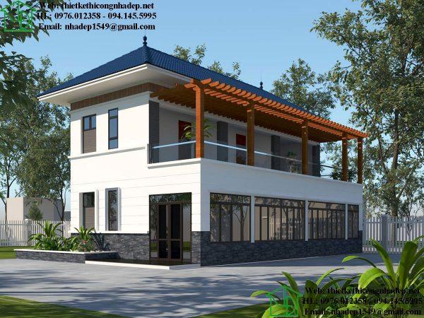 Thiết kế biệt thự 2 tầng NDBT2T45