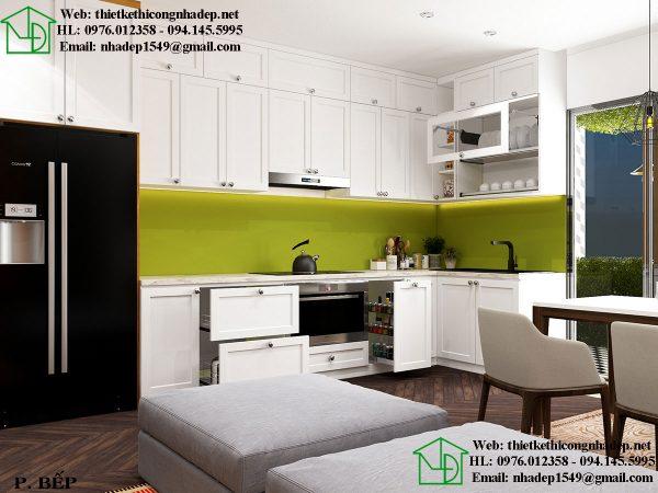 Mẫu nội thất chung cư nhỏ 50m2 với phòng bếp hiện đại
