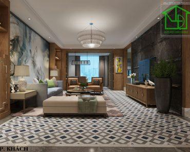 Phòng khách trong thiết kế nội thất chung cư cao cấp IPH