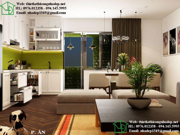 Mẫu nội thất chung cư nhỏ 50m2 với phòng ăn hiện đại