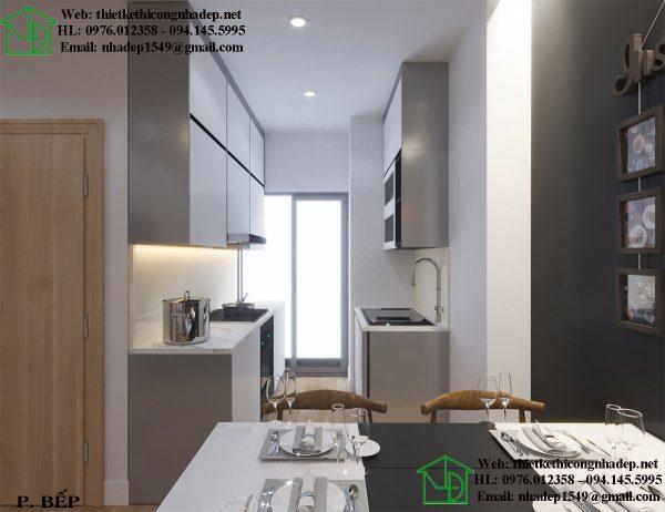 Phòng bếp của thiết kế nhà chung cư đẹp 70m2 ở căn hộ Home City