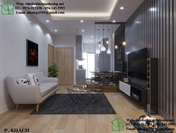 Thiết kế nhà chung cư đẹp 70m2 ở căn hộ Home City