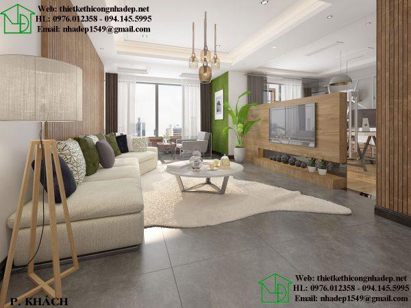 Phòng khách hiện đại trong thiết kế nội thất chung cư tại Hà Nội