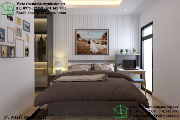Phòng ngủ Master ở thiết kế nhà chung cư đẹp 70m2 Home City