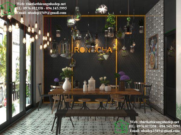 Thiết kế quán trà sữa Roncha nhỏ xinh và độc đáo