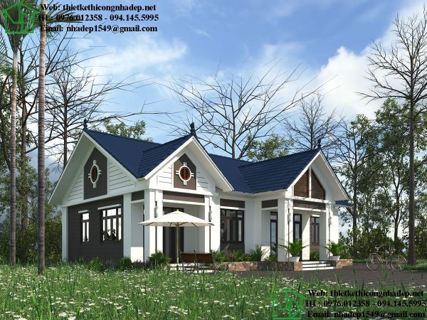 Biệt thự vườn 1 tầng mái thái đẹp DBT1T67