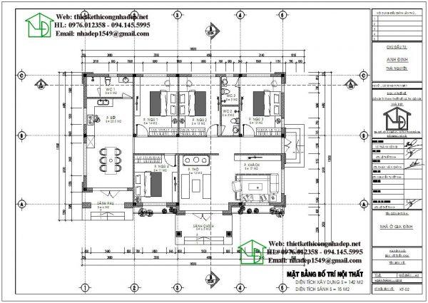 Mặt bằng bố trí nội thất biệt thự 1 tầng mái thái hiện đại DBT1T67