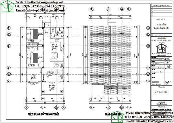 Mặt bằng bố trí nội thất nhà cấp 4 NDNC467