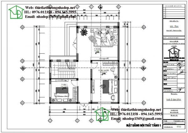Mặt bằng nội thất tầng 1 NDBT2T48