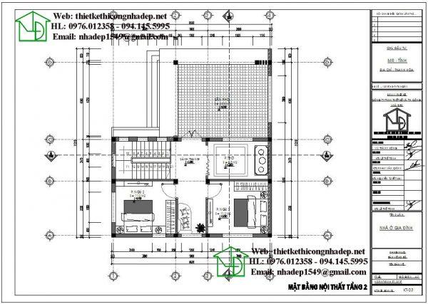 Mặt bằng nội thất tầng 2 NDBT2T48