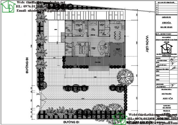 Mặt bằng tổng thể biệt thự 1 tầng DBT1T68