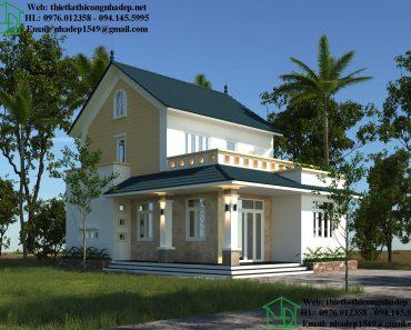 Mẫu nhà vuông 2 tầng mái thái NDNTPK8