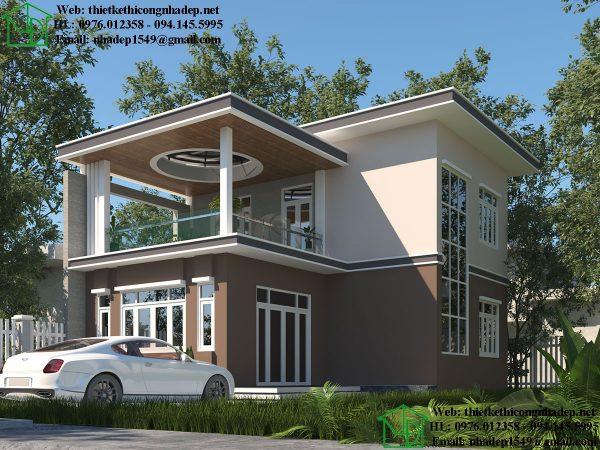 Thiết kế nhà 2 tầng đẹp hiện đại NDBT2T48