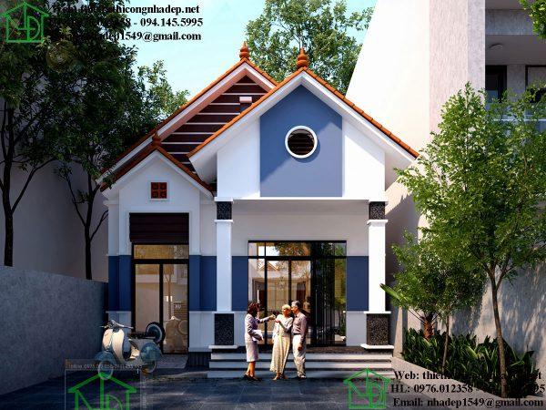 Thiết kế nhà cấp 4 mái thái đẹp NDNC467